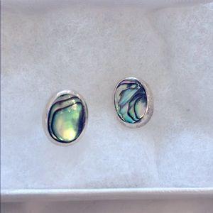 Iridescent green sterling silver earrings